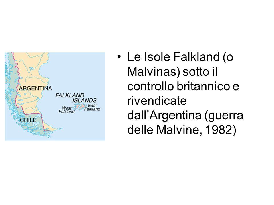Le Isole Falkland (o Malvinas) sotto il controllo britannico e rivendicate dall'Argentina (guerra delle Malvine, 1982)