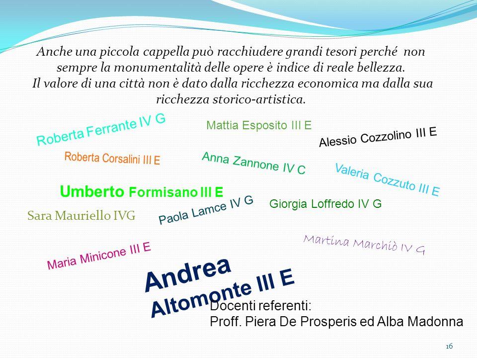 Andrea Altomonte III E Umberto Formisano III E