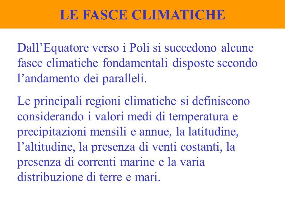 LE FASCE CLIMATICHE Dall'Equatore verso i Poli si succedono alcune fasce climatiche fondamentali disposte secondo l'andamento dei paralleli.