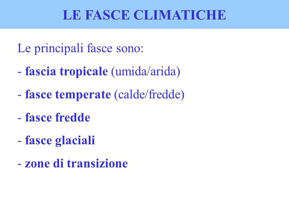LE FASCE CLIMATICHE Le principali fasce sono: