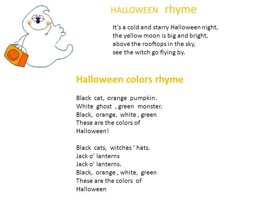 Halloween colors rhyme