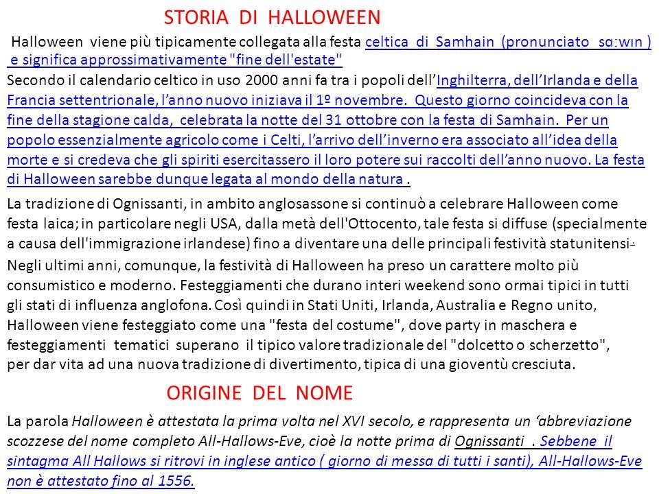 STORIA DI HALLOWEEN ORIGINE DEL NOME
