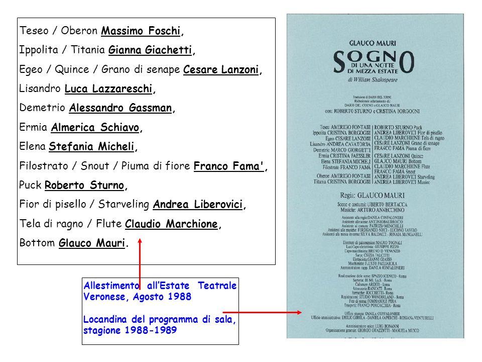 Teseo / Oberon Massimo Foschi, Ippolita / Titania Gianna Giachetti,
