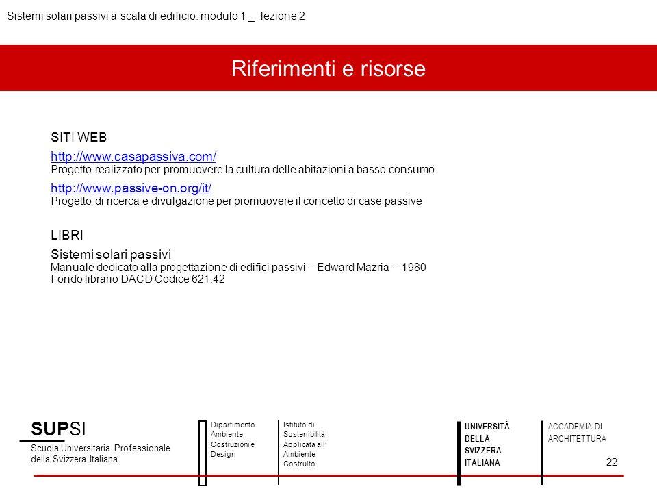 Riferimenti e risorse SUPSI SITI WEB http://www.casapassiva.com/