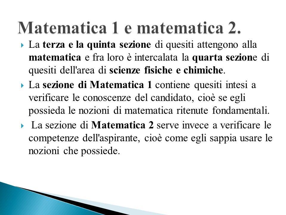 Matematica 1 e matematica 2.