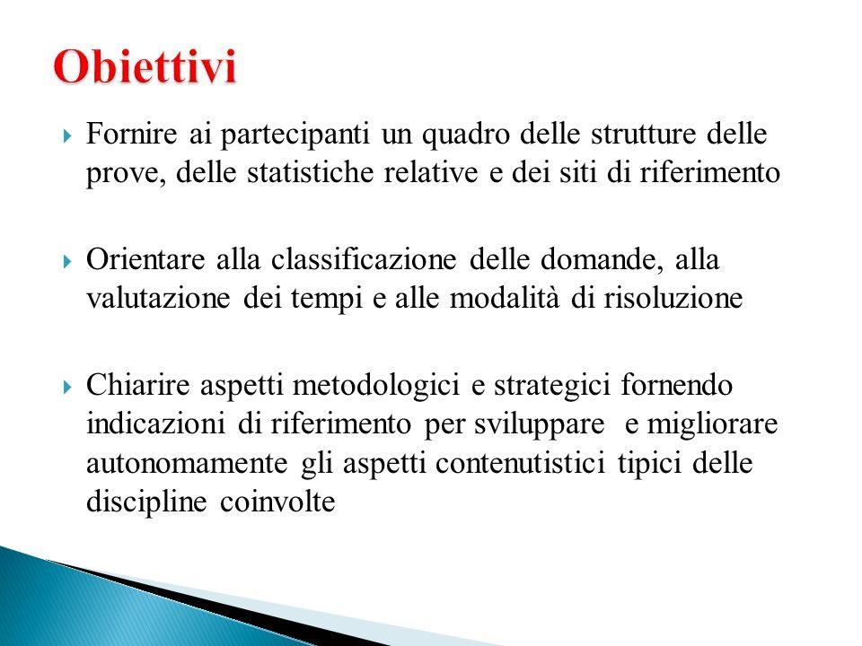 Obiettivi Fornire ai partecipanti un quadro delle strutture delle prove, delle statistiche relative e dei siti di riferimento.