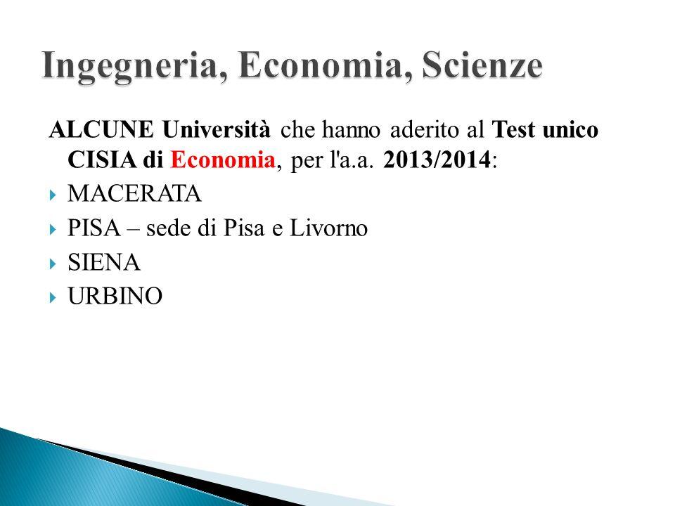 Ingegneria, Economia, Scienze