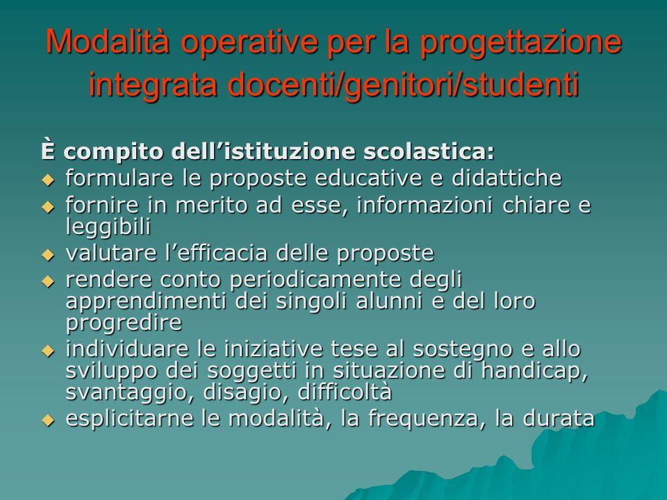 Modalità operative per la progettazione integrata docenti/genitori/studenti