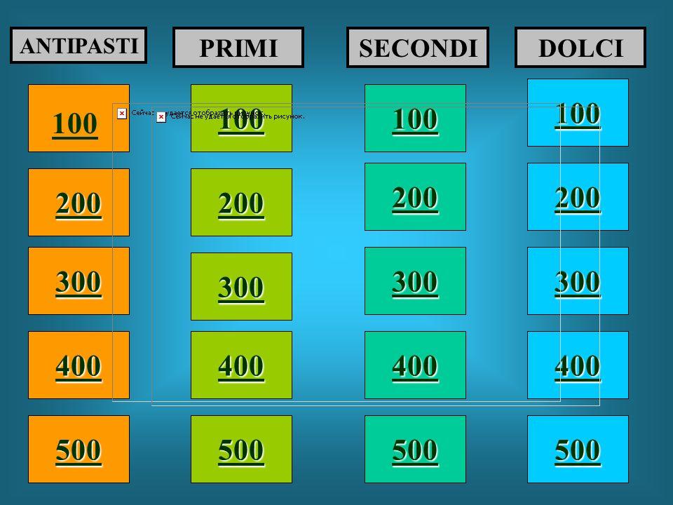 ANTIPASTI PRIMI. SECONDI. DOLCI. 100. 100. 100. 100. 200. 200. 200. 200. 300. 300. 300.