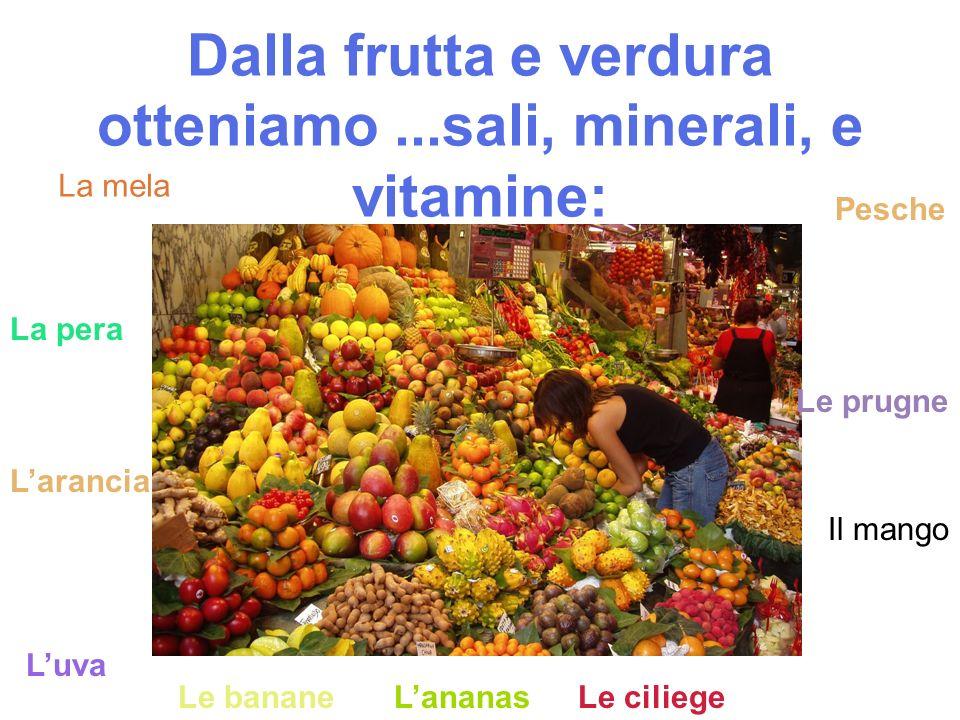 Dalla frutta e verdura otteniamo ...sali, minerali, e vitamine: