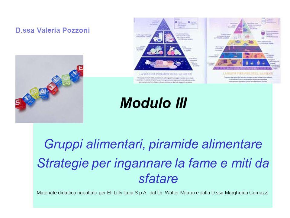 Modulo III Gruppi alimentari, piramide alimentare