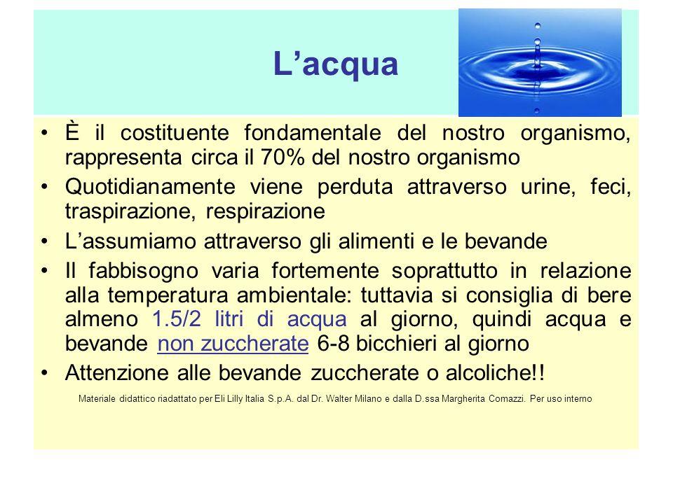 L'acqua È il costituente fondamentale del nostro organismo, rappresenta circa il 70% del nostro organismo.