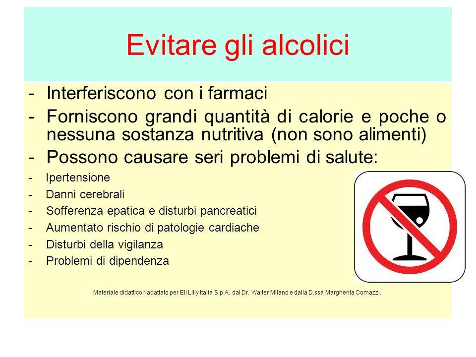 Evitare gli alcolici Interferiscono con i farmaci