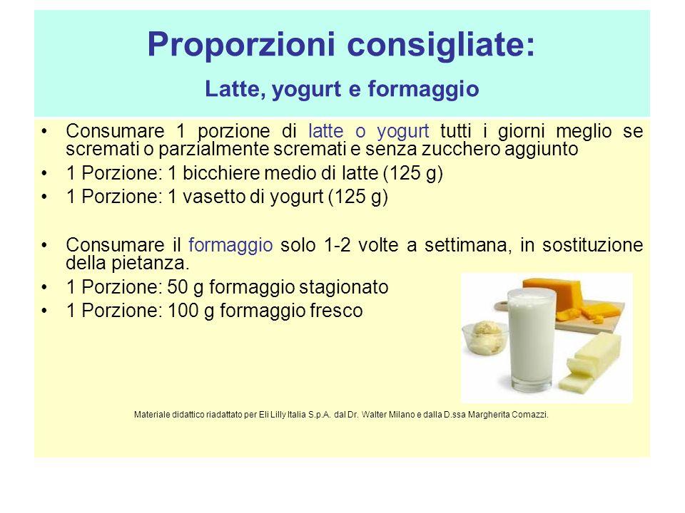 Proporzioni consigliate: Latte, yogurt e formaggio