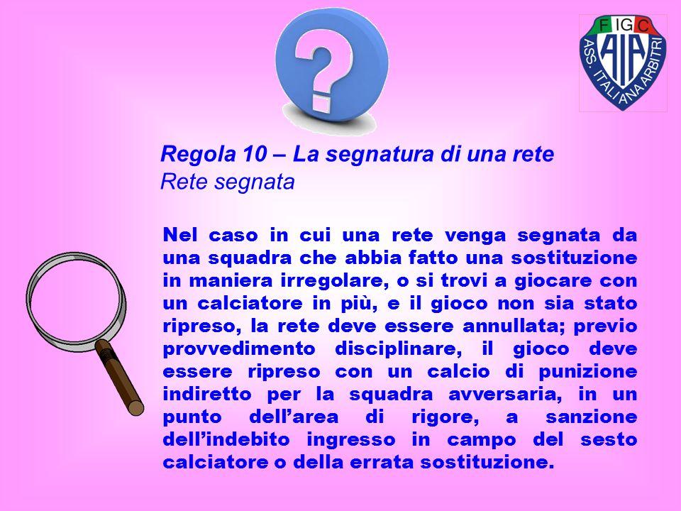 Regola 10 – La segnatura di una rete Rete segnata