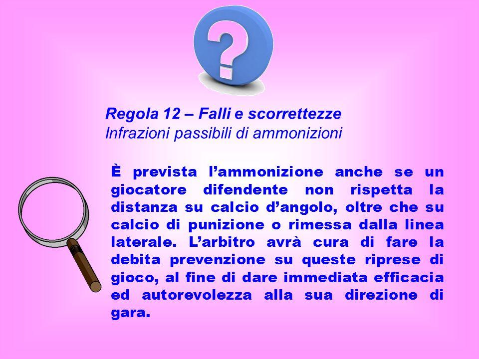 Regola 12 – Falli e scorrettezze Infrazioni passibili di ammonizioni