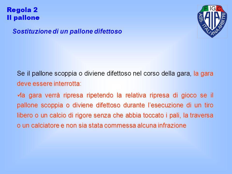 Regola 2 Il pallone. Sostituzione di un pallone difettoso.