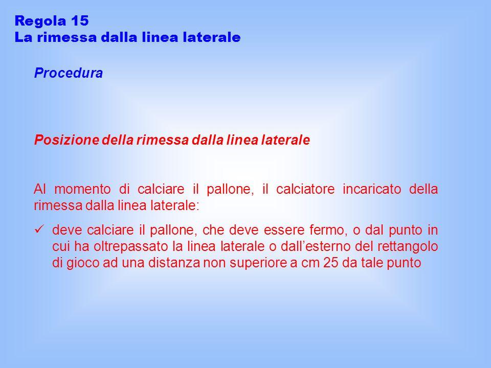 Regola 15 La rimessa dalla linea laterale. Procedura. Posizione della rimessa dalla linea laterale.