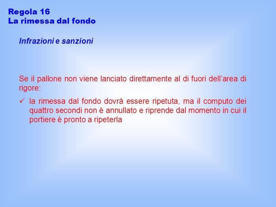 Regola 16 La rimessa dal fondo. Infrazioni e sanzioni. Se il pallone non viene lanciato direttamente al di fuori dell'area di rigore: