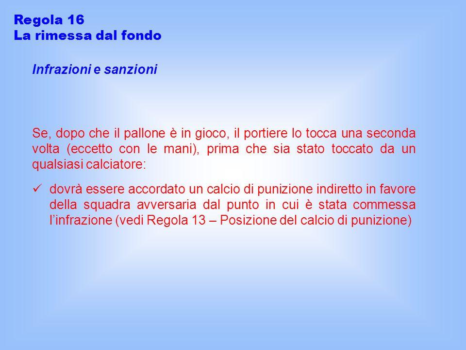 Regola 16 La rimessa dal fondo. Infrazioni e sanzioni.