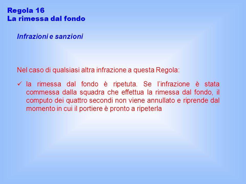 Regola 16 La rimessa dal fondo. Infrazioni e sanzioni. Nel caso di qualsiasi altra infrazione a questa Regola: