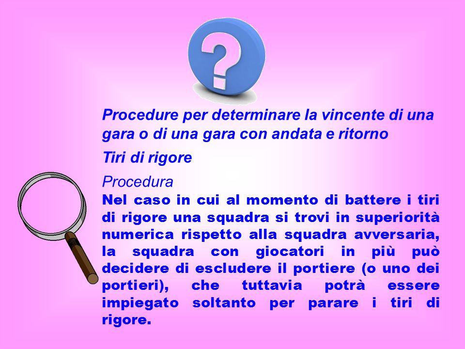 Procedure per determinare la vincente di una gara o di una gara con andata e ritorno