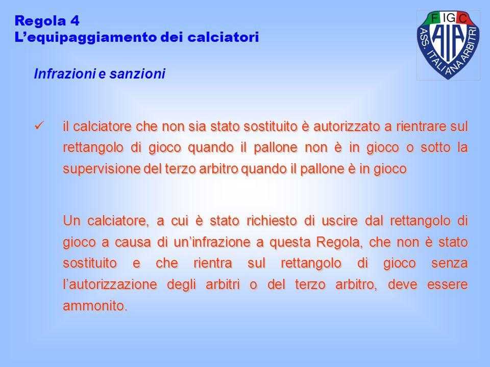 Regola 4 L'equipaggiamento dei calciatori. Infrazioni e sanzioni.