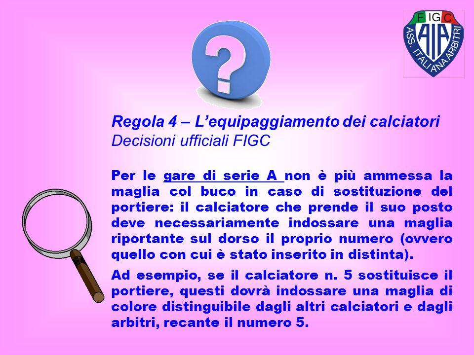 Regola 4 – L'equipaggiamento dei calciatori Decisioni ufficiali FIGC