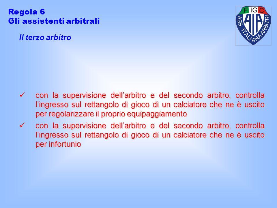 Regola 6 Gli assistenti arbitrali. Il terzo arbitro.