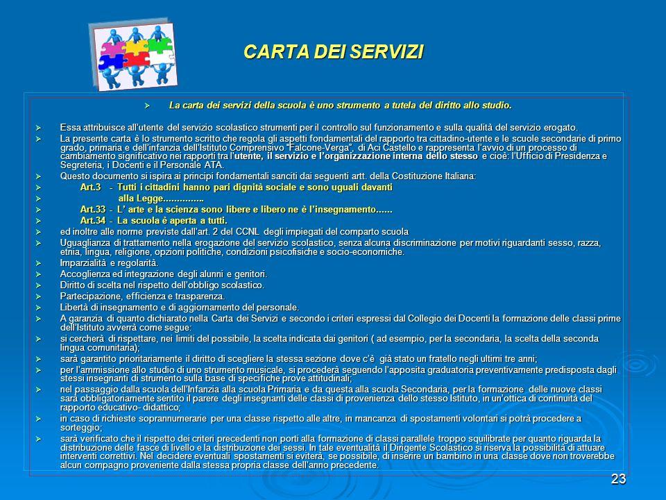 CARTA DEI SERVIZI La carta dei servizi della scuola è uno strumento a tutela del diritto allo studio.