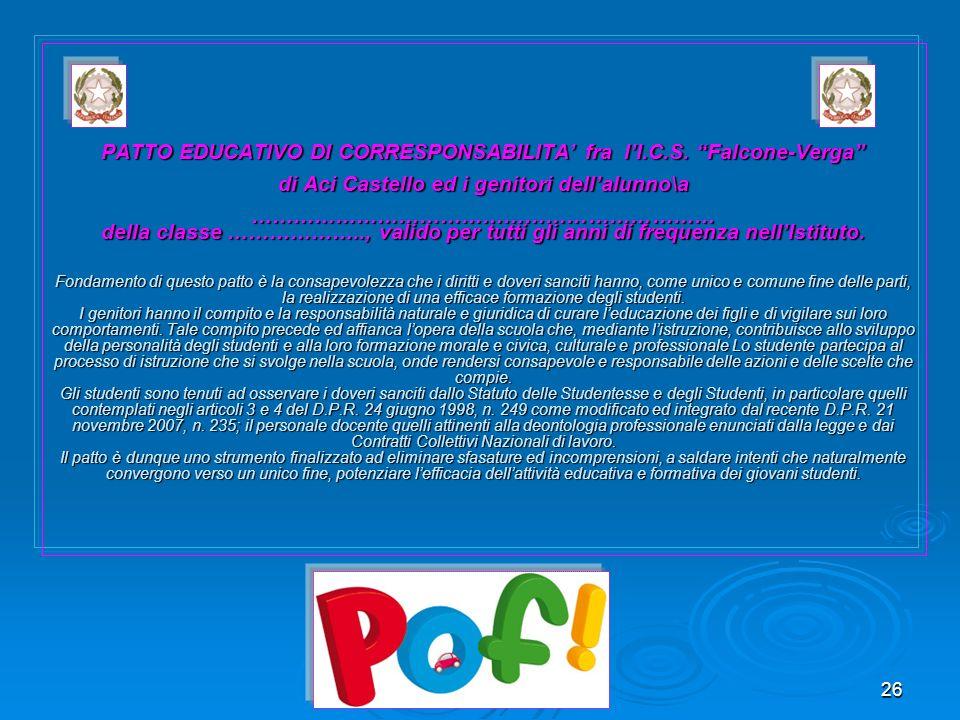 PATTO EDUCATIVO DI CORRESPONSABILITA' fra l'I. C. S