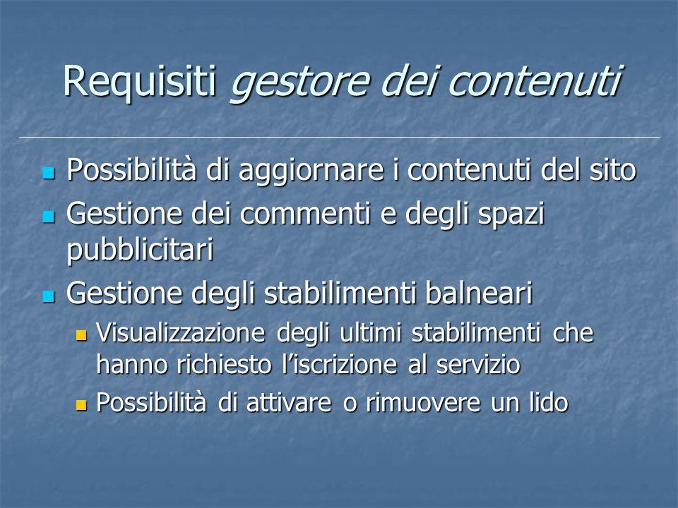 Requisiti gestore dei contenuti