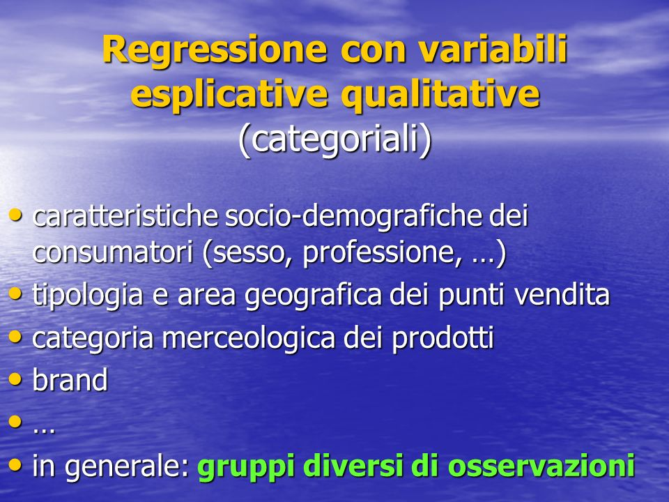 Regressione con variabili esplicative qualitative (categoriali)