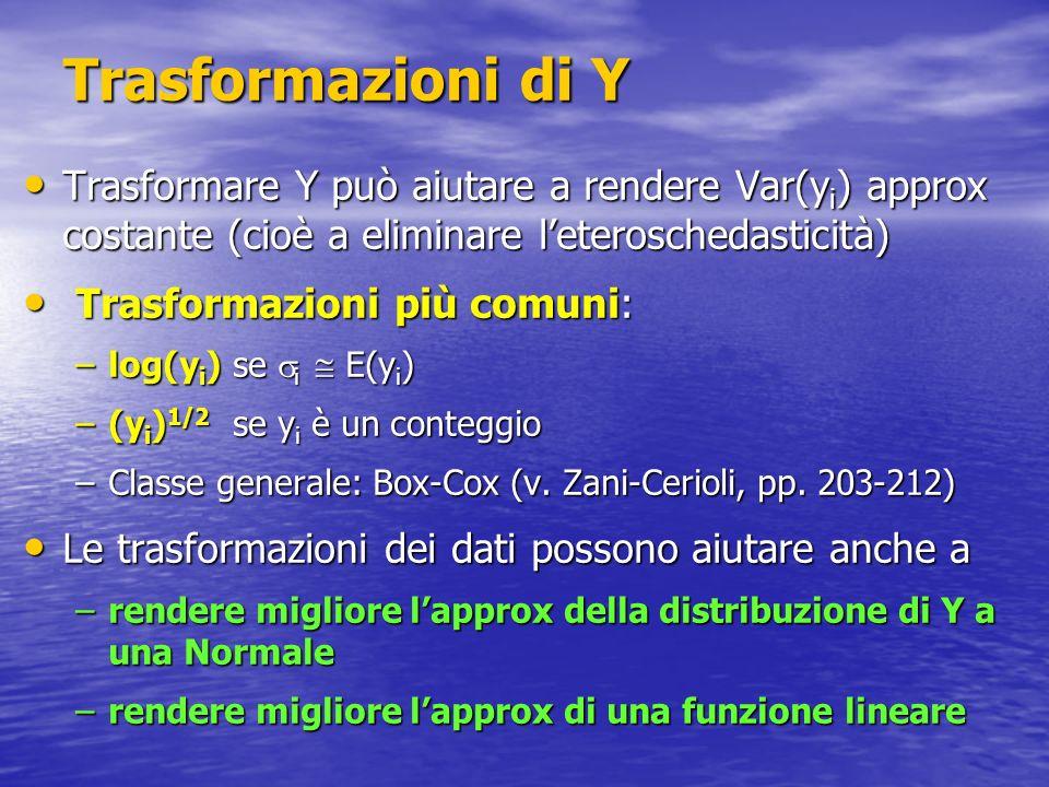 Trasformazioni di YTrasformare Y può aiutare a rendere Var(yi) approx costante (cioè a eliminare l'eteroschedasticità)