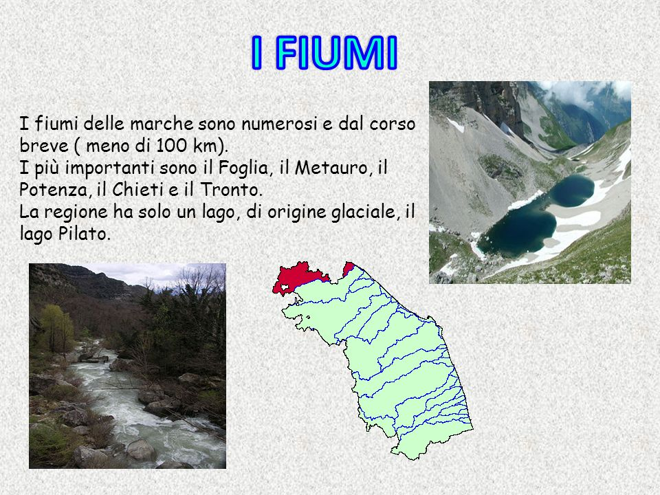 I FIUMI I fiumi delle marche sono numerosi e dal corso breve ( meno di 100 km).