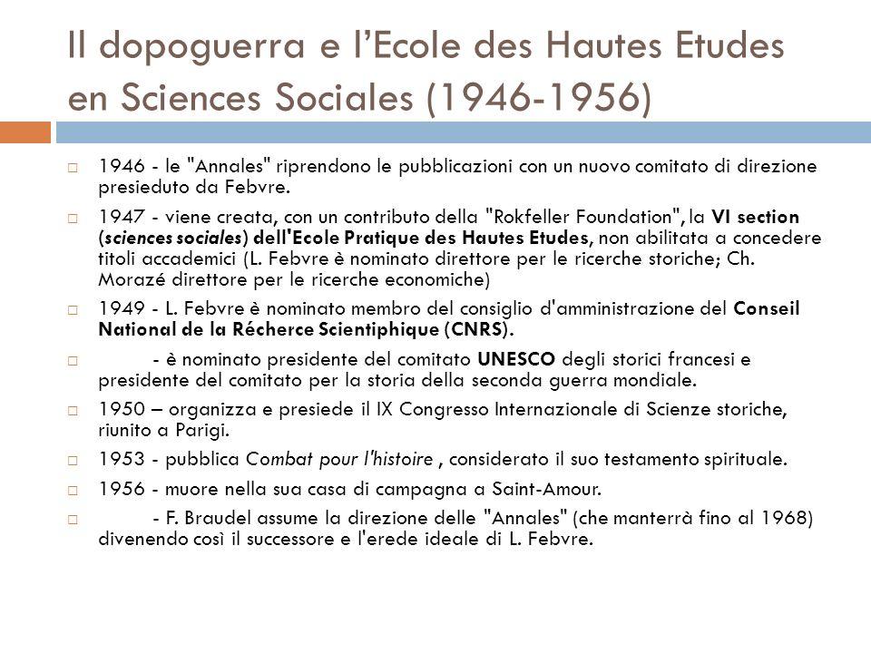 Il dopoguerra e l'Ecole des Hautes Etudes en Sciences Sociales (1946-1956)