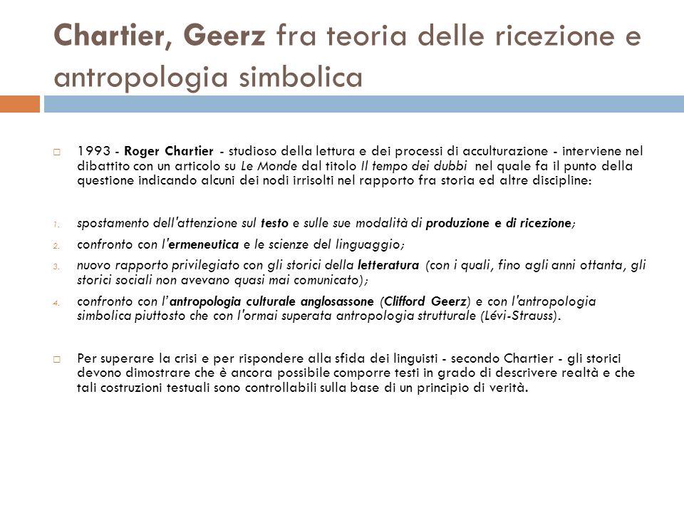 Chartier, Geerz fra teoria delle ricezione e antropologia simbolica