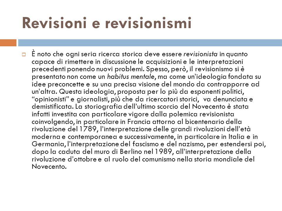 Revisioni e revisionismi
