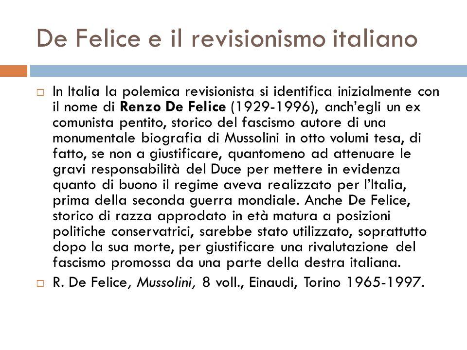 De Felice e il revisionismo italiano