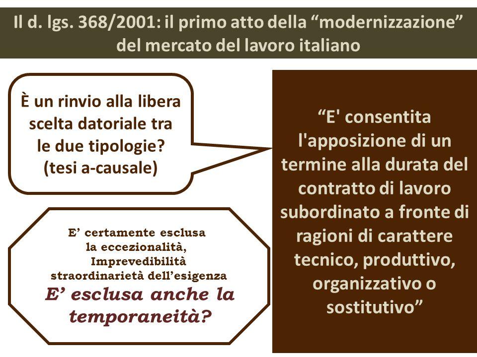 Il d. lgs. 368/2001: il primo atto della modernizzazione del mercato del lavoro italiano