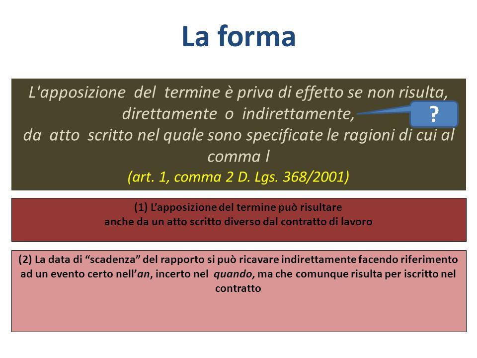 La forma L apposizione del termine è priva di effetto se non risulta, direttamente o indirettamente,