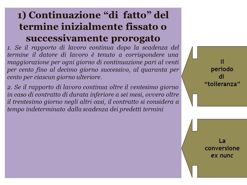 1) Continuazione di fatto del termine inizialmente fissato o successivamente prorogato