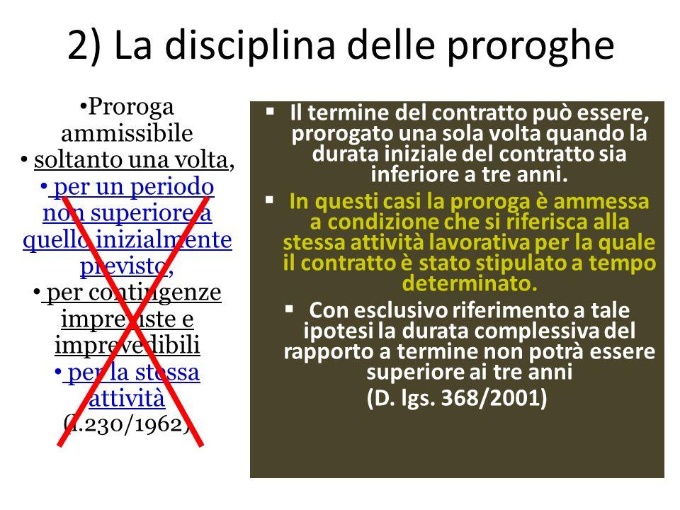 2) La disciplina delle proroghe