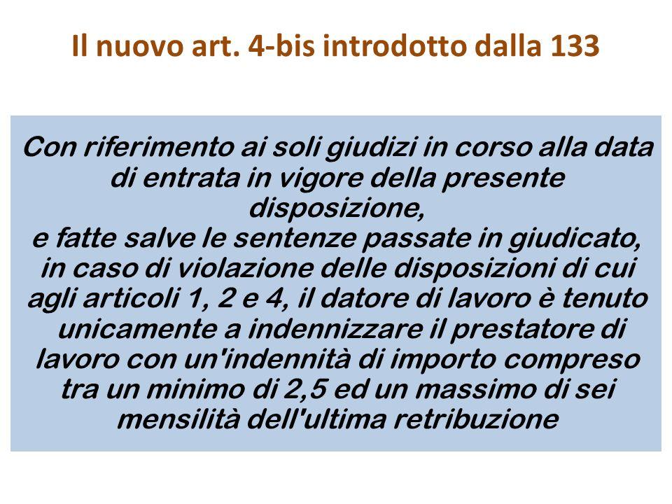 Il nuovo art. 4-bis introdotto dalla 133
