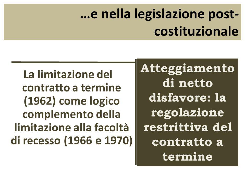 …e nella legislazione post-costituzionale