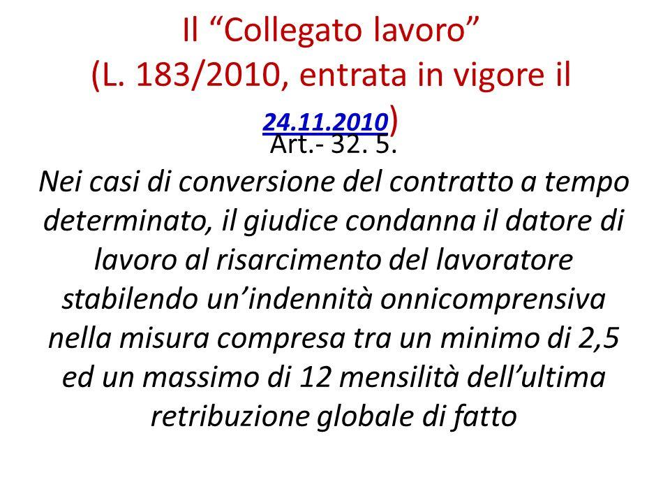 Il Collegato lavoro (L. 183/2010, entrata in vigore il 24.11.2010)