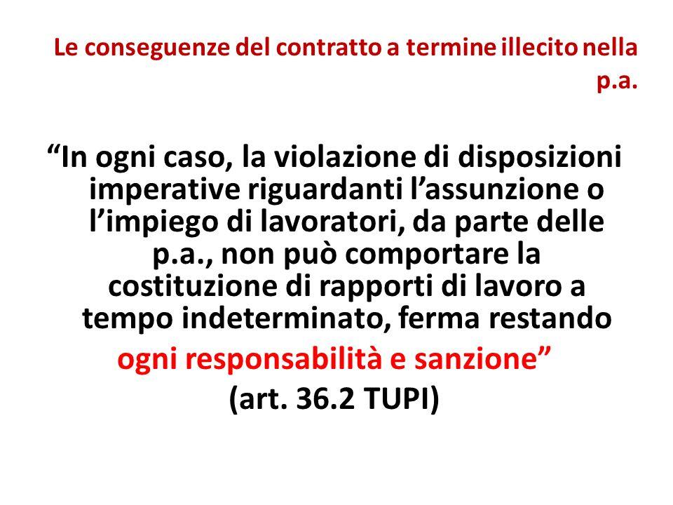 Le conseguenze del contratto a termine illecito nella p.a.