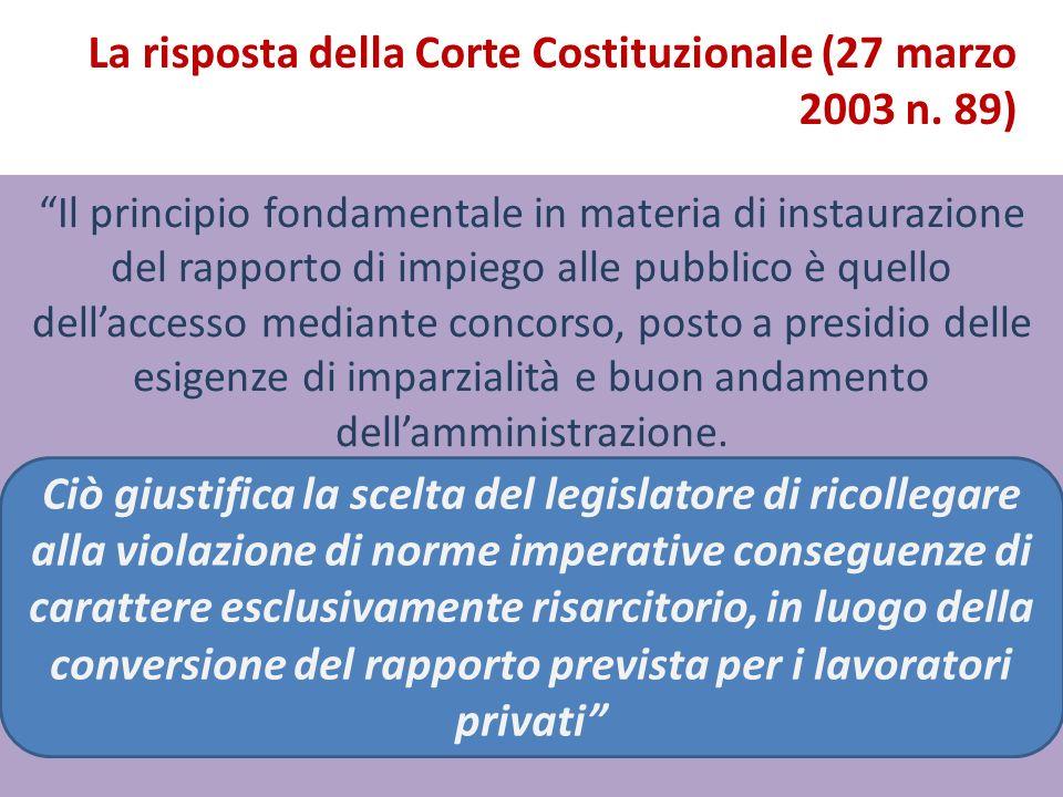La risposta della Corte Costituzionale (27 marzo 2003 n. 89)