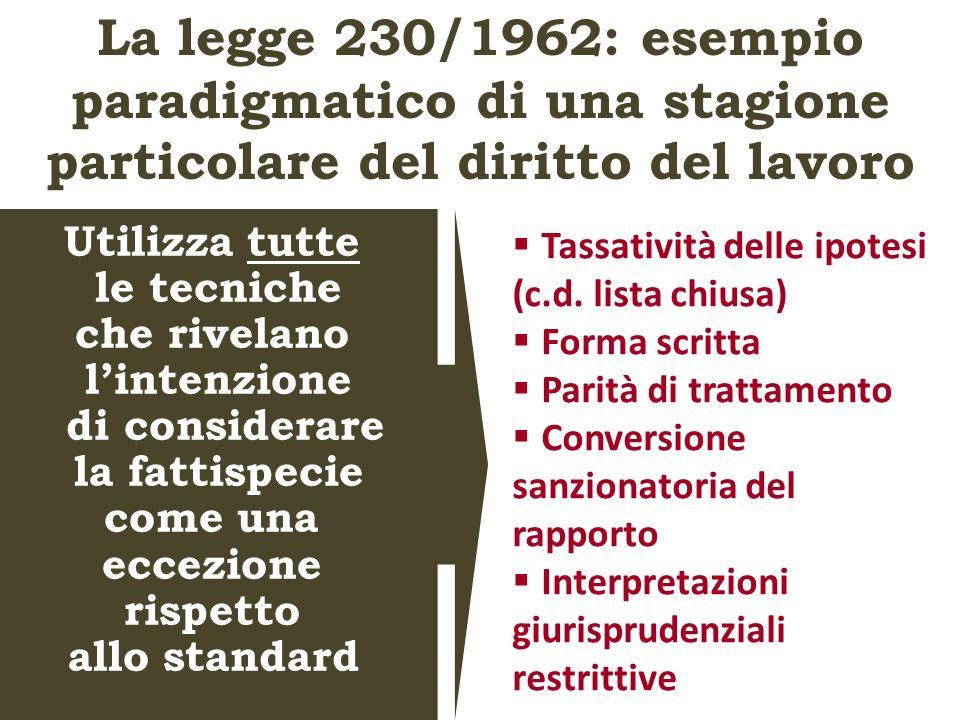 La legge 230/1962: esempio paradigmatico di una stagione particolare del diritto del lavoro