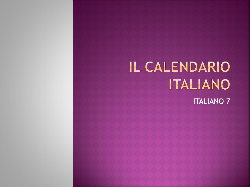 IL CALENDARIO ITALIANO